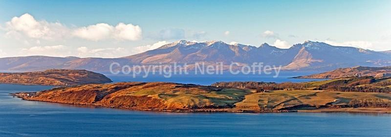 Isle Of Arran across Great Cumbrie Isle, North Ayrshire - Panoramic format