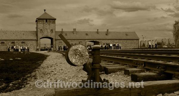 Birkenau entrance and points sepia - Auschwitz/Birkenau