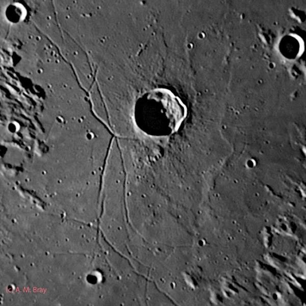 Triesnecker & rille system - Moon: Central Region