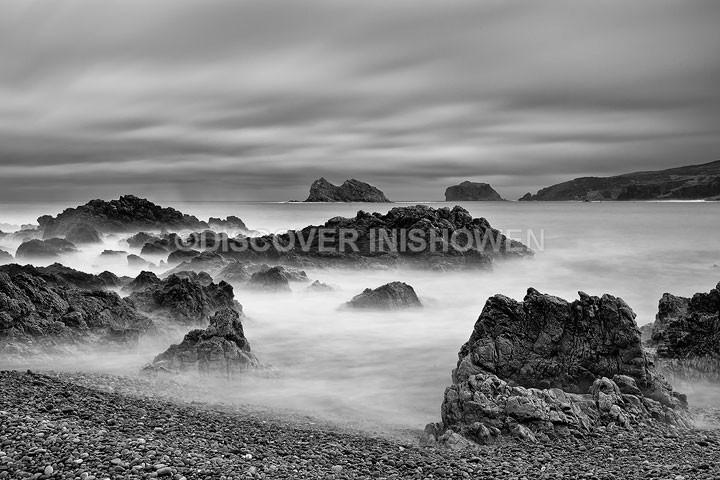 Malin Head coast - Inishowen peninsula- B&W