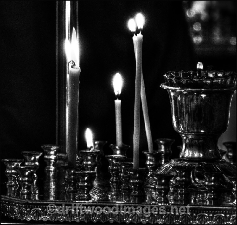 Archangel church candles bw HDR - Archangel, Russia
