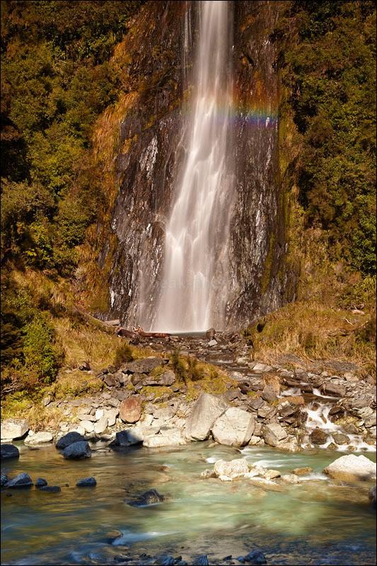 Thunder Creek Rainbow - Photographs of New Zealand