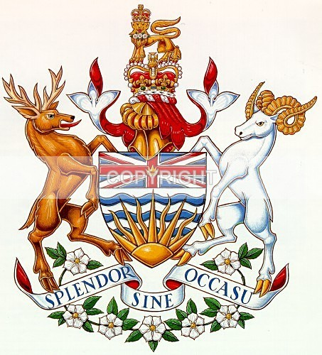 Coat of Arms - Province of British Columbia - Heritage Family Name and Coat of Arms Store