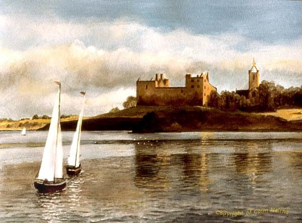 'Linlithgow Loch, with boats' - Landscapes