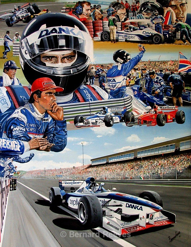 Damon Hill collage - Formula 1 cars and drivers