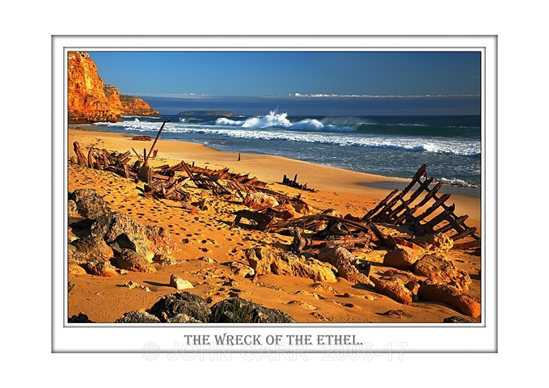 Beautiful Wall Art print  with a Border, showing the remains of the Barque the Ethel, South Australia.