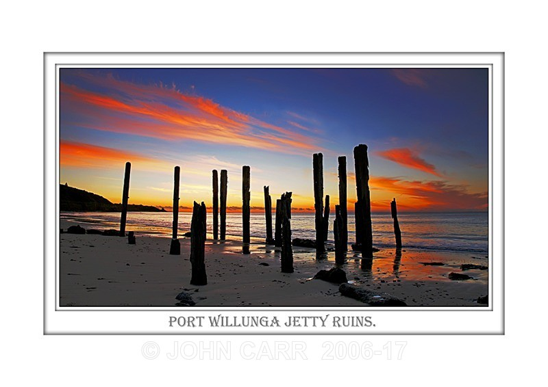 Beautiful Wall Art print  with a Border, showing Pt. Willunga Jetty Ruins, South Australia.