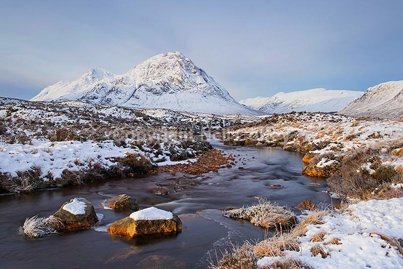 Buachaille Etive Mor and Allt nan Giubhas, Highland - Landscape format