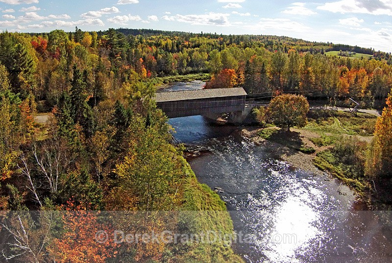 Smyth Covered Bridge at Mill Settlement NB Aerial View - Covered Bridges of New Brunswick