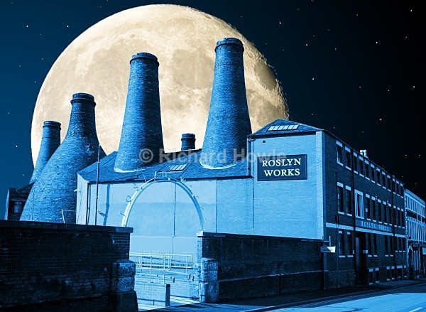 Moonlit Gladstone - The Potteries by Moonlight