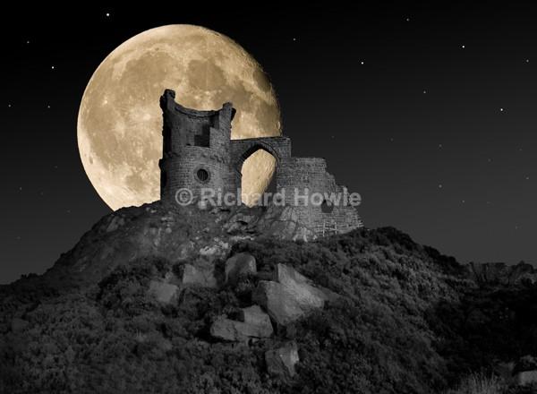 Moon over Mow Cop Castle - Potteries Images