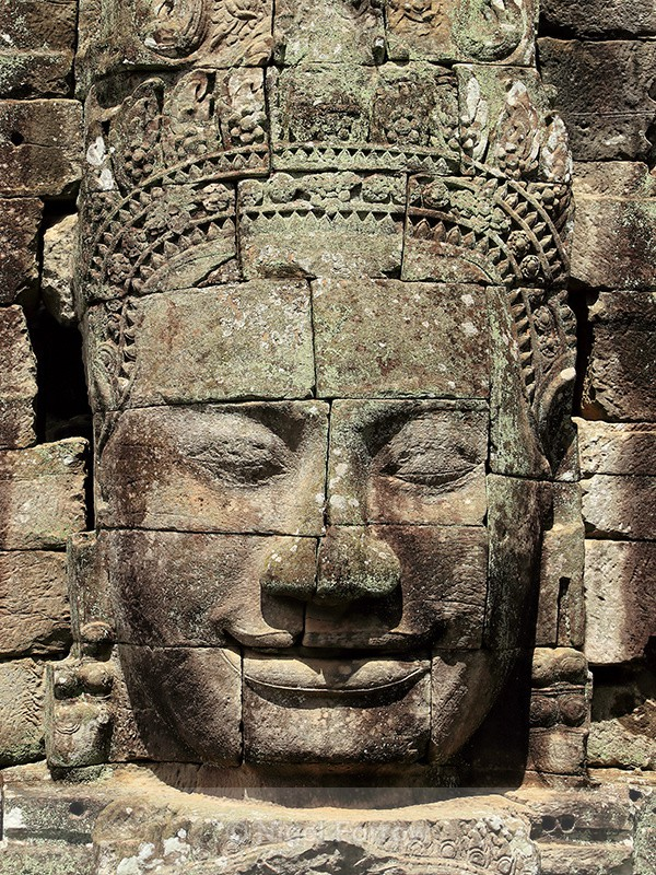 Stone face at Bayon Temple, Angkor Thom, Cambodia - Cambodia