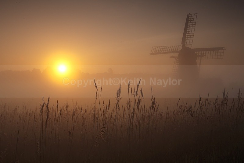 Windmill at dawn with sun rising in the east over a misty marsh