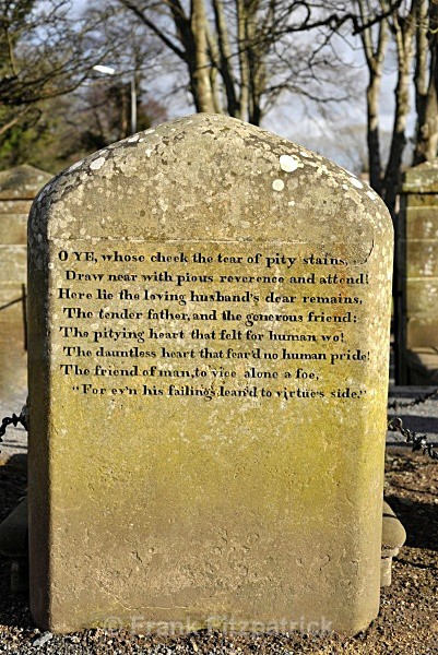 Reverse of headstone, The Auld Kirk, Alloway. - Robert Burns