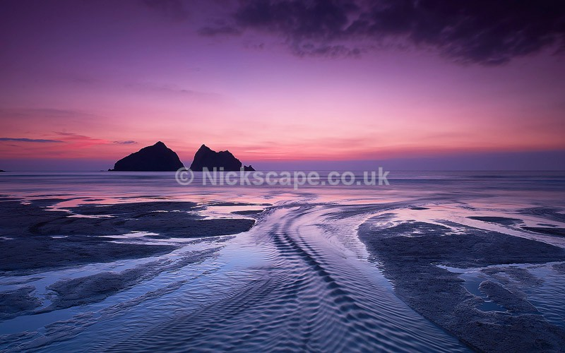 Sunset on the beach at Holywell Bay on the Cornwall Coastline | Nickscape Photography
