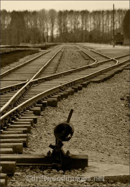 Birkenau  railway lines 2 sepia - Auschwitz/Birkenau