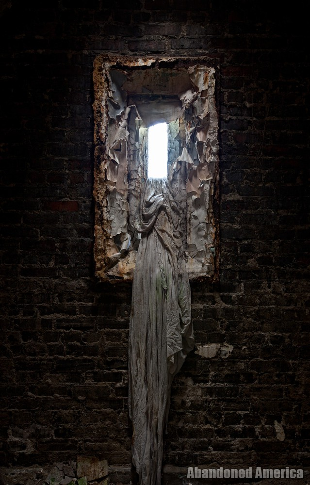 Window with cloth, Holmesburg Prison, Philadelphia PA   Abandoned America by Matthew Christopher