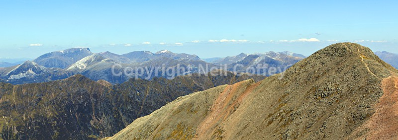 The Nevis Range, Aonach Eagach and Stob Coire nan Lochan, Highland - Panoramic format