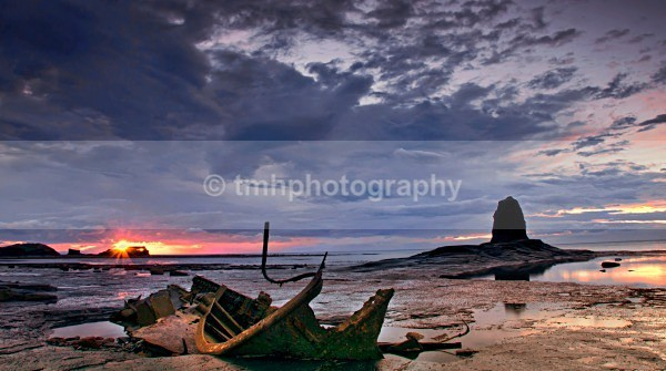 Sunset on the Captain Von Trap Wreck. - Yorkshire Coast