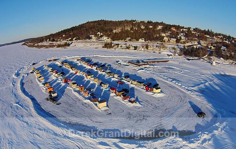 Renforth Ice Shacks Aerial View Rothesay NB Canada - Ice Shacks