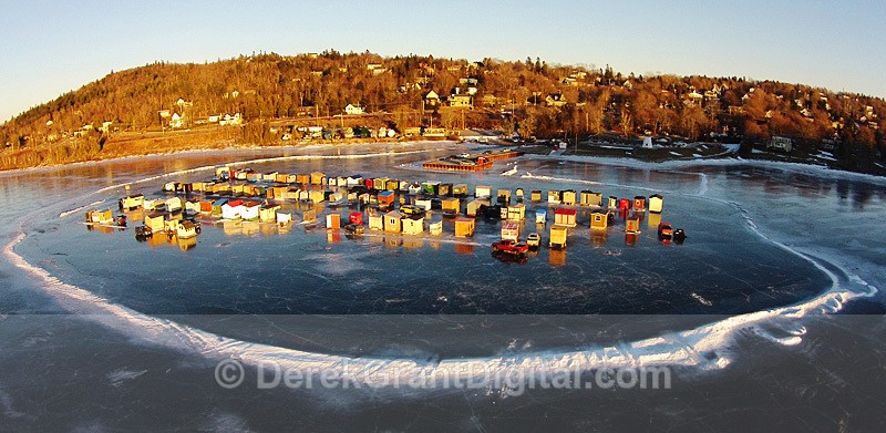 Renforth Ice Fishing Village - Aerial View - Rothesay NB Canada - Ice Shacks