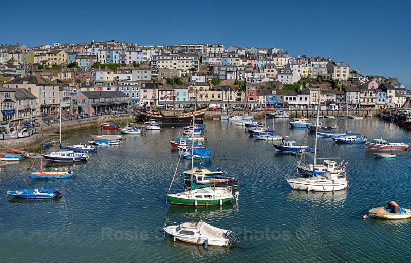 TQ60 Colourful houses and boats at Brixham Harbour - Greetings Cards Brixham and Kingswear