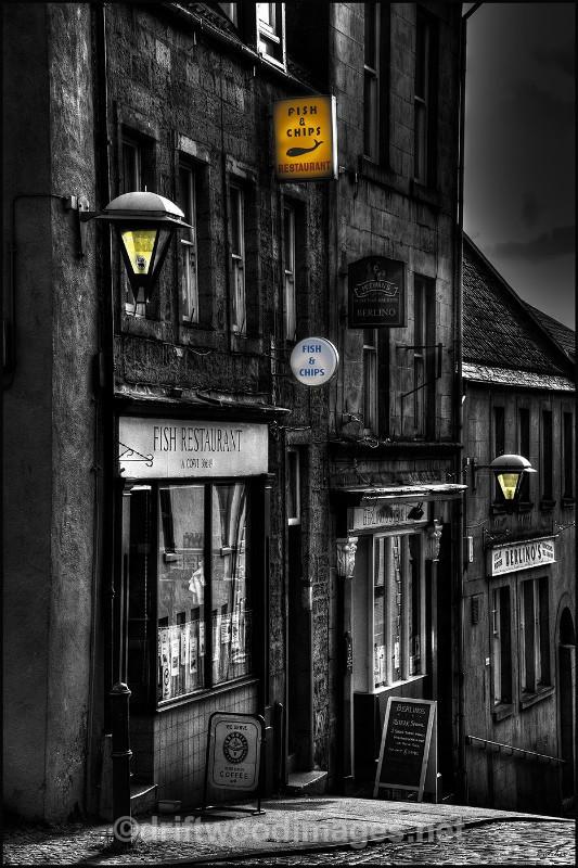 Berwick West Street fish restaurant bw lights HDR resized - High Dynamic Range pictures