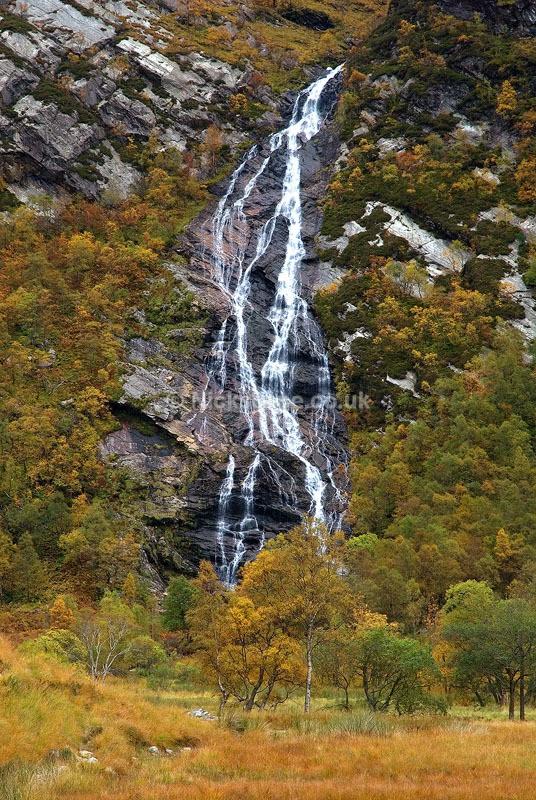 Steall Falls Waterfall in Autumn - John Muir Trust Glen Nevis Scotland