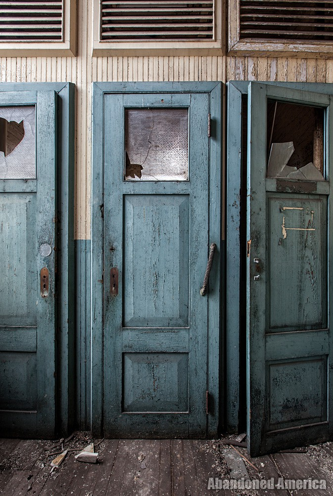Simon Silk Mill, Easton PA: Bathroom Stall Door | Abandoned America