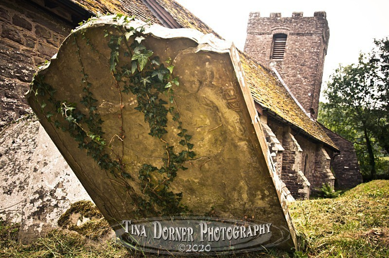 Leaning Gravestone and Church Tower,  from 'Hidden Stone,' Forest of Dean and Wye Valley Portfolio by Tina Dorner Photography