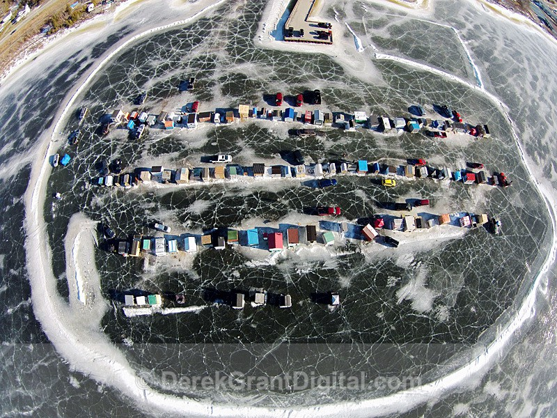Renforth Ice Shacks Aerial View Rothesay New Brunswick Canada - Ice Shacks