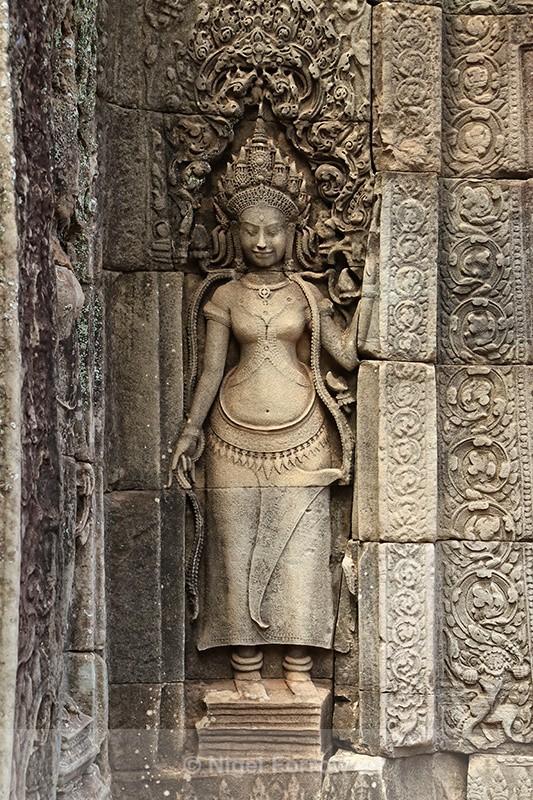 Bas-relief of female deity, Bayon, Angkor Thom, Cambodia - Cambodia