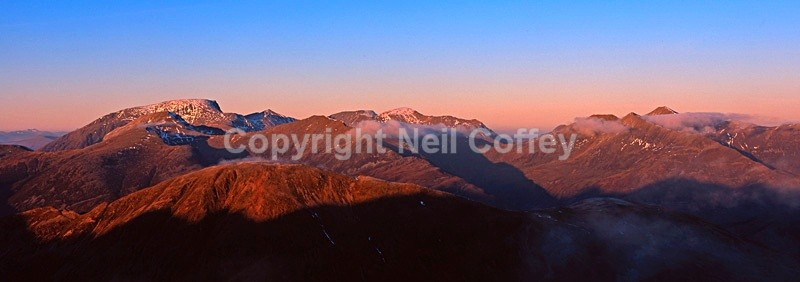 Ben Nevis and Mamore Forest, Highland - Panoramic format