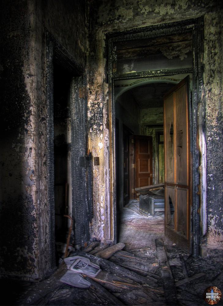 Pennhurst State School (Spring City, PA)   a house on fire - Pennhurst State School and Hospital
