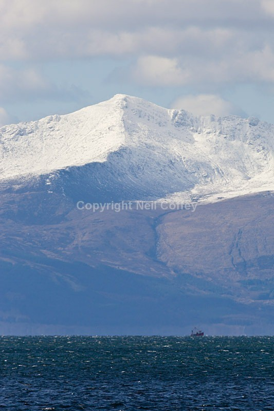 Goatfell on the Isle of Arran from Ardrossan, North Ayrshire - Portrait format