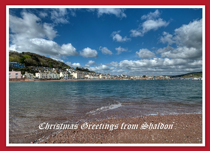 TS37 - Xmas Card - Shaldon viewed across the River Teign - Greetings Cards Teignmouth and Shaldon
