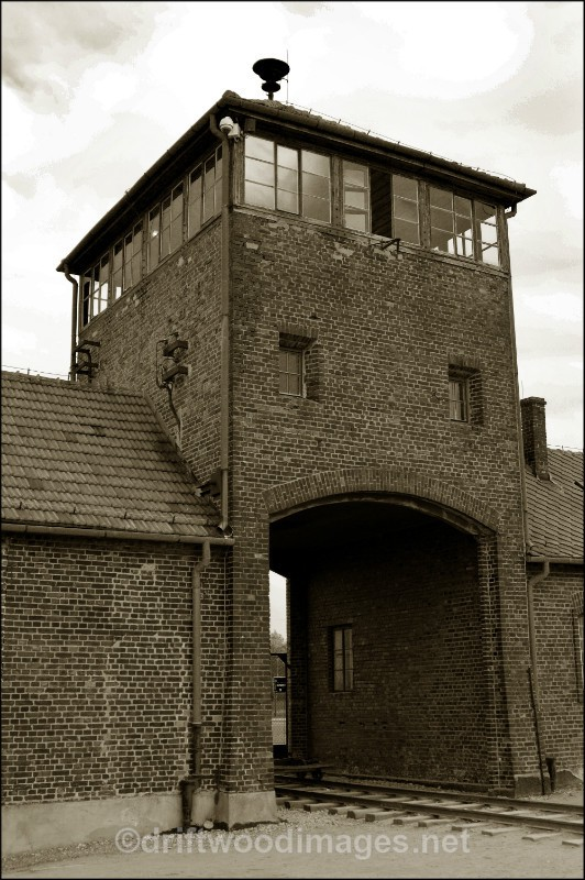 Birkenau entrance tower sepia - Auschwitz/Birkenau