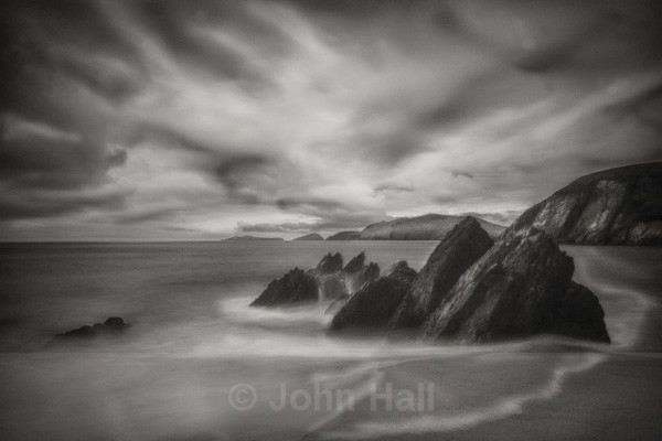 Fine Art Monochrome Of Big Sky Over Coomenole Beach, Dingle Peninsula, Co. Kerry, Ireland.