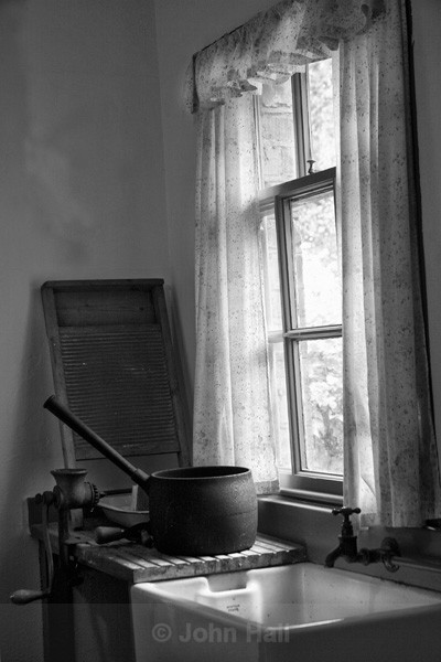 Fine Art Monochrome Of A Belfast Sink And Kitchen, Co. Clare, Ireland.