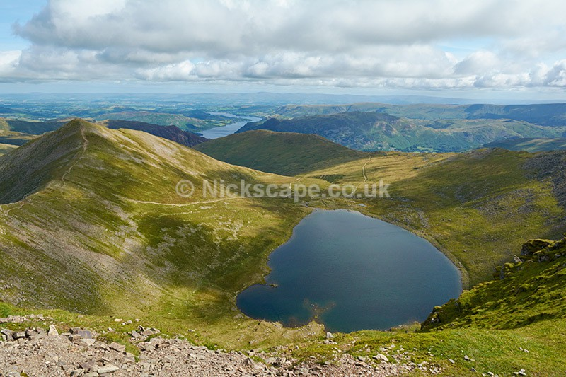Red Tarn and Swirral Edge from Helvellyn Summit - Lake District National Park
