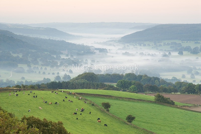 Misty Dawn overlooking the Chatsworth Valley from Baslow | Peak District Photography