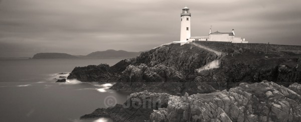 Monochrome Panoramic Of Fanad Head Lighthouse, Co. Donegal, Ireland.