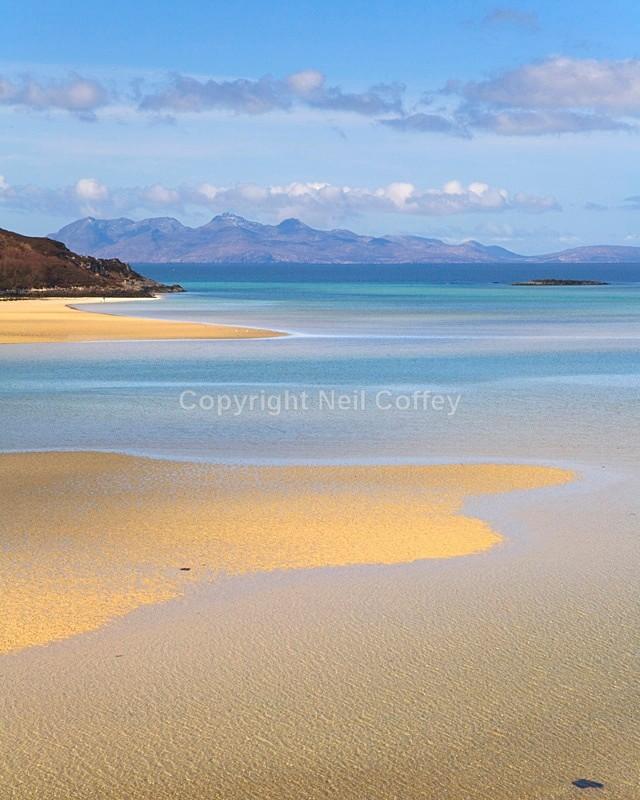 Isle Of Rum from Morar Bay, Highland - Portrait format