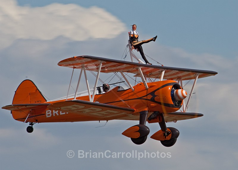Breitling Wingwalking Team,flying Boeing Stearman A75N Biplane - RAF Duxford 2009 - 2014 Air Shows