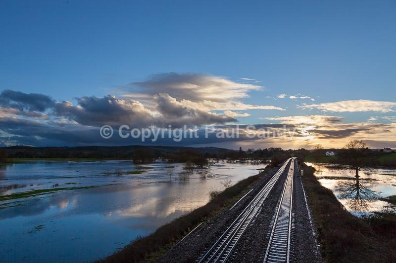 Lines through the floods. Culm valley, Devon - Recent