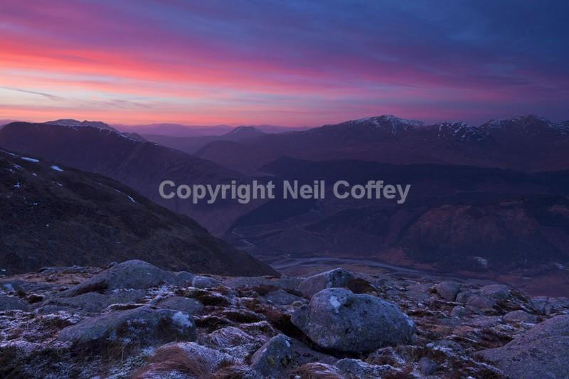Glen Etive sunset from Ben Starav, Highland - Landscape format