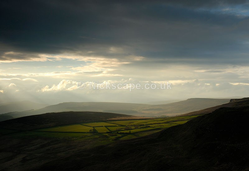 Overstones Farm Fields and Stanage Edge from Higger Tor - Peak District Landscape Photography Gallery