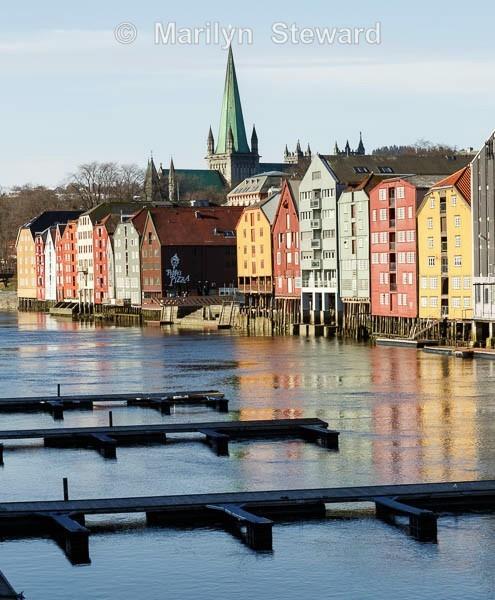 Trondheim wharf and houses - Norway Coast