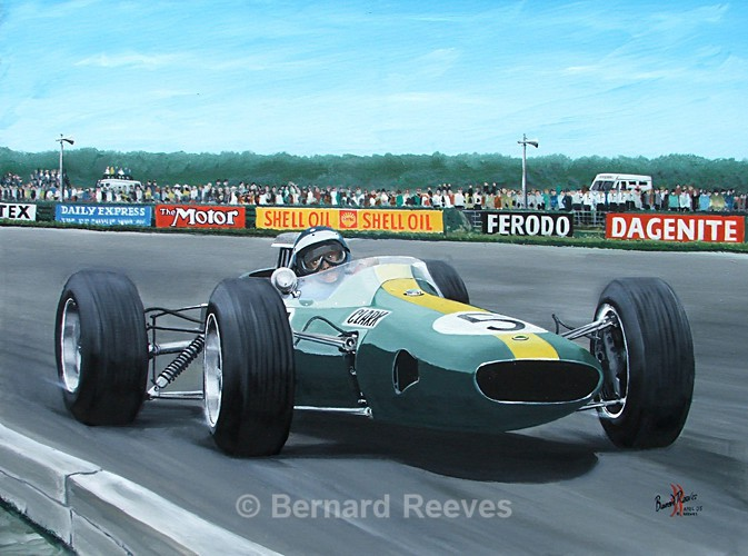 Jim Clark in the Lotus 33 Silverstone GP - Formula 1 cars and drivers