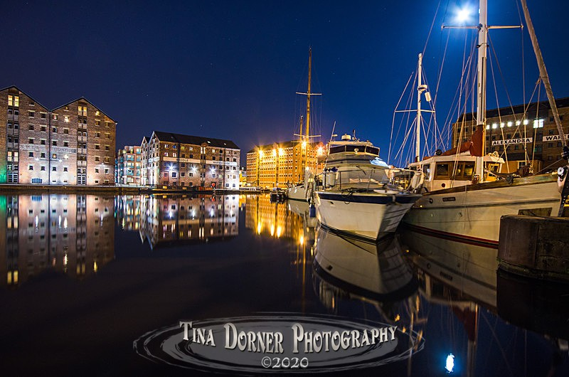 Moonlight over Moorings at Gloucester Docks by Tina Dorner Photography